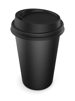 Copo descartável de plástico preto com tampa