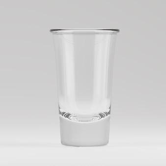 Copo vazio transparente de atiradores renderizados em 3d para beber doses de álcool no bar