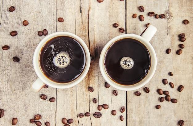 Copos com um café. foco seletivo. bebida.