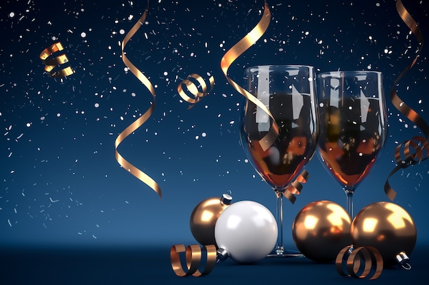 Copos de natal de champanhe no fundo brilhante