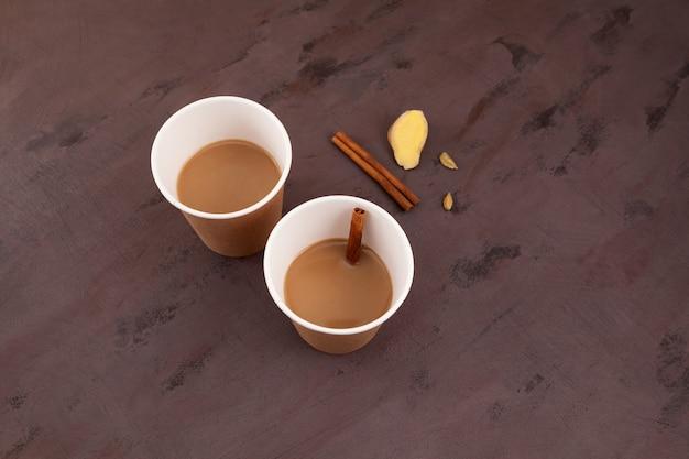 Copos de papel do morning mumbai chai