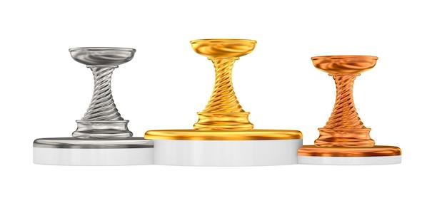 Copos de troféu em fundo branco. ilustração 3d isolada