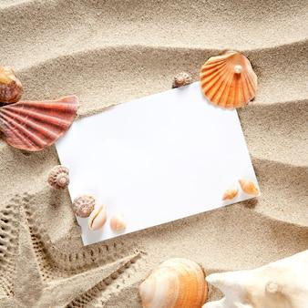 Copyspace espaço em branco verão starfish areia conchas