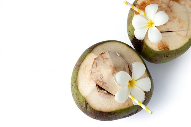 Coquetéis de coco fresco tropical decorado plumeria isolado no fundo branco