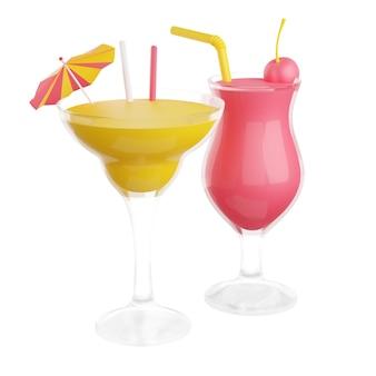 Coquetéis de frutas com álcool em vidro renderização em 3d