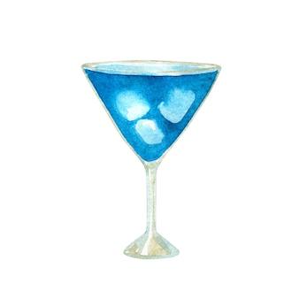 Coquetel da lagoa azul com curaçao e gelo. mão-extraídas ilustração em aquarela. isolado.