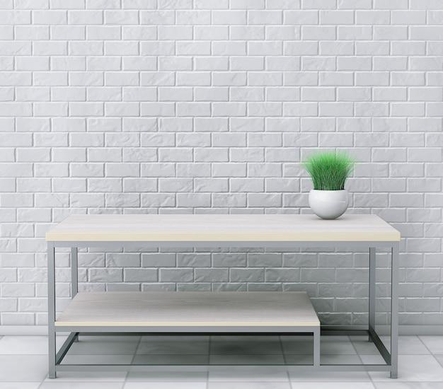 Coquetel de madeira simples e mesa de centro com grama em vaso de cerâmica na frente da parede de tijolos. renderização 3d
