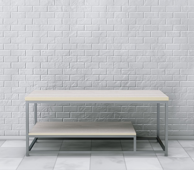 Coquetel de madeira simples e mesa de centro em frente à parede de tijolos. renderização 3d