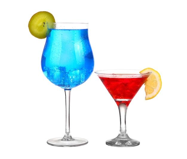 Coquetel dois vermelho e azul isolado no branco