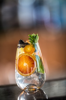 Coquetel gim tônico com frutas tropicais frescas em balcão de bar em filhote de cachorro ou restaurante.