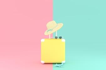 Cor amarela da mala de viagem com os óculos de sol com o chapéu e o avião modelo.