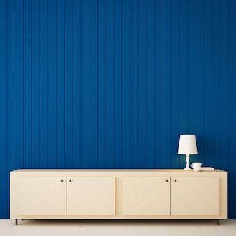 Cor azul clássica da parede para casa e interior / renderização em 3d