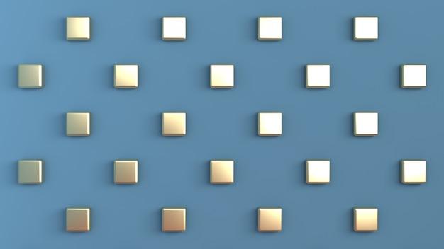Cor azul com cubos de ouro dispostos em padrão quadriculado na parede traseira