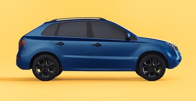 Cor azul do crossover da cidade compacta em um fundo amarelo. visão certa. renderização 3d.