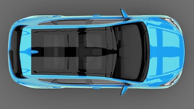Cor azul do crossover da cidade compacta em um fundo cinza. renderização 3d.