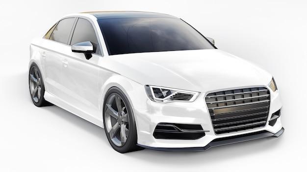 Cor branca do carro esporte super rápido em um fundo branco. sedan em forma de corpo. o tuning é uma versão de um carro familiar comum. renderização 3d.