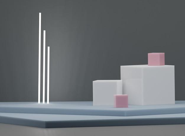 Cor bstract geométrica, pódio para produtos, exposições, renderização 3d