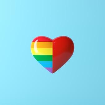 Cor do arco-íris de dois tons de coração e cor vermelha, conceito criativo mínimo, renderização em 3d