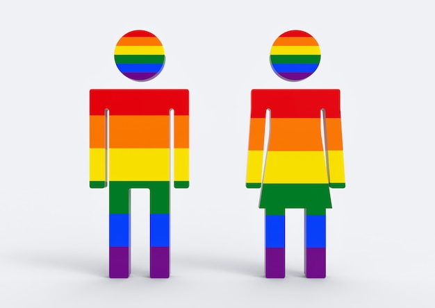 Cor do arco-íris de lgbt no fundo masculino e fêmea do branco do om do símbolo do ícone do gênero.