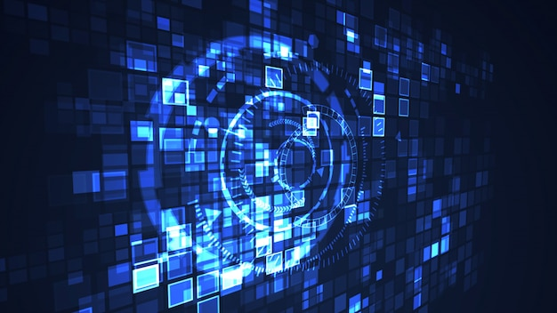 Cor gráfica do azul da ilustração da tecnologia digital abstrata do cyber do círculo. conceito futurista de internet.