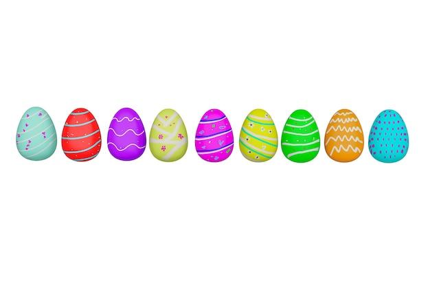 Cor isolada de ovos de páscoa em fundo branco com traçado de recorte, renderização 3d