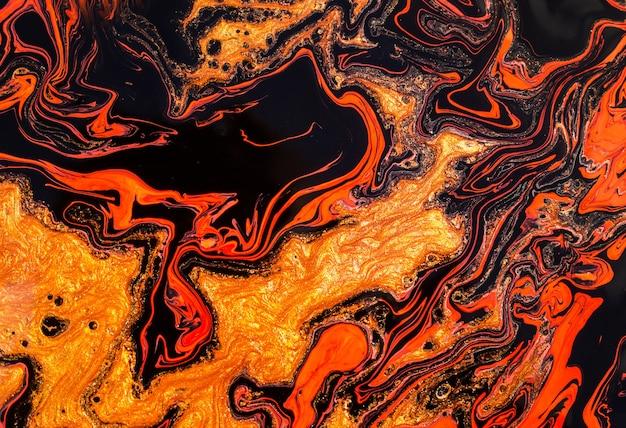 Cor laranja-vermelho-dourada mágica. belo efeito de mármore.