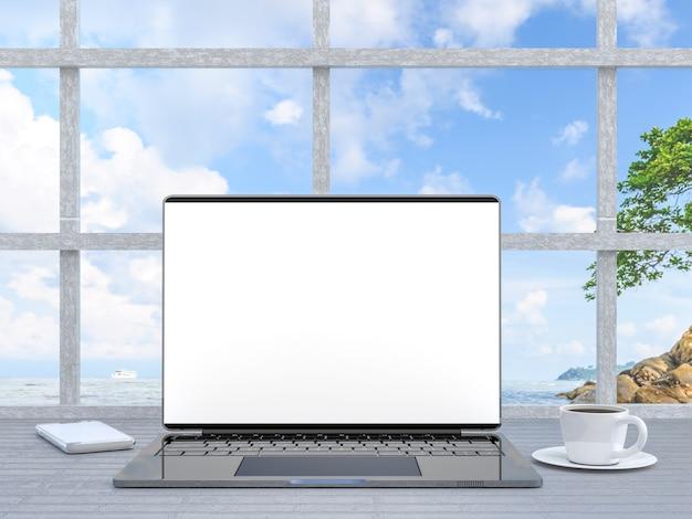 Cor metálica de laptop com tela em branco com café e telefone inteligente