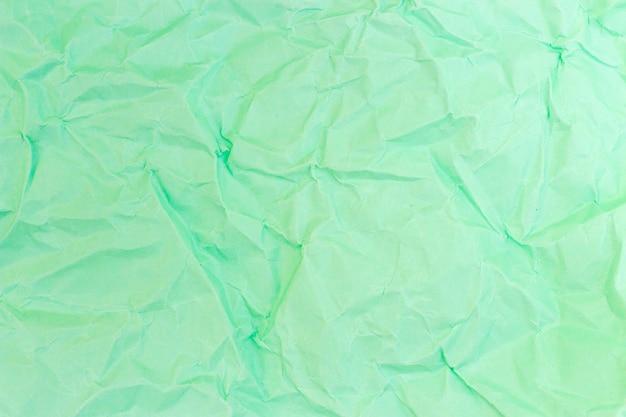 Cor pastel turquesa de papel amassado, textura, plano de fundo