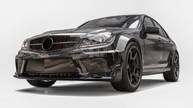 Cor preta do carro esporte super rápido sobre um fundo branco. sedan em forma de corpo. o tuning é uma versão de um carro familiar comum. renderização 3d. Foto Premium