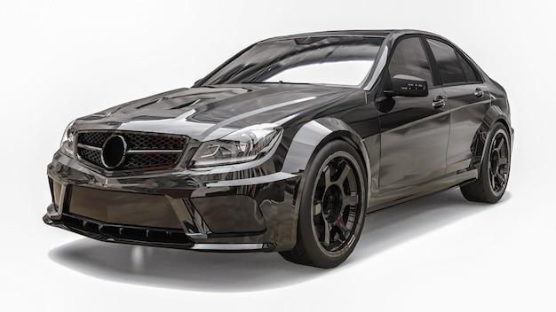 Cor preta do carro esporte super rápido sobre um fundo branco. sedan em forma de corpo. o tuning é uma versão de um carro familiar comum. renderização 3d.