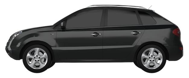 Cor preta do crossover da cidade compacta em um fundo branco. renderização 3d.