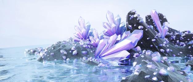 Cor roxa realista cristais naturais e muitas jóias