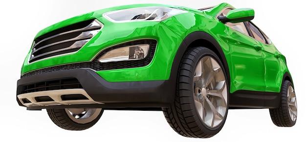 Cor verde do crossover da cidade compacta em um fundo branco. renderização 3d.