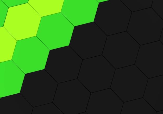 Cor verde e preto fundo de parede padrão de forma hexagonal.