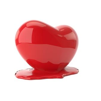 Coração a derreter. renderização em 3d.