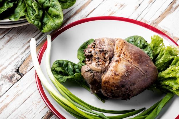 Coração assado de carne dietética