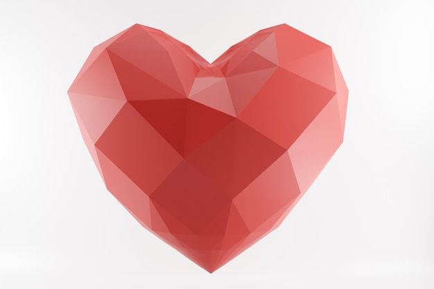 Coração baixo poli vermelho isolado no branco