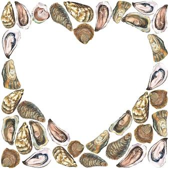 Coração branco na superfície de ostras em aquarela
