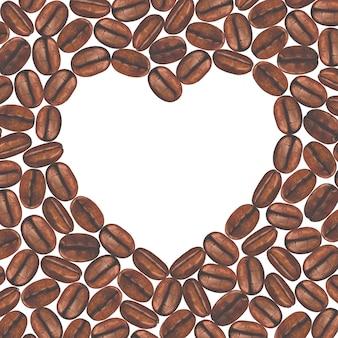 Coração branco na superfície dos grãos de café pintados à mão em aquarela