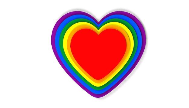 Coração colorido para a celebração do dia do orgulho. ilustração 3d.