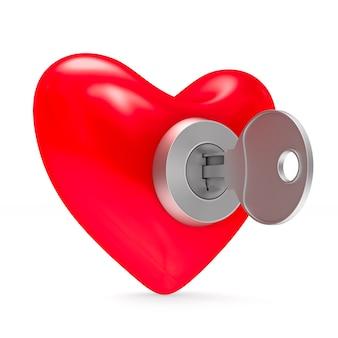 Coração com chave. isolado, renderização 3d