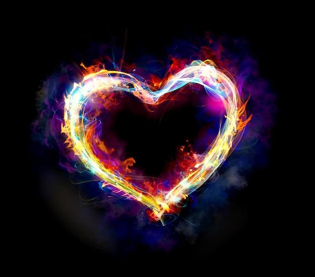 Coração com movimento de luz colorida e fogo em fundo escuro