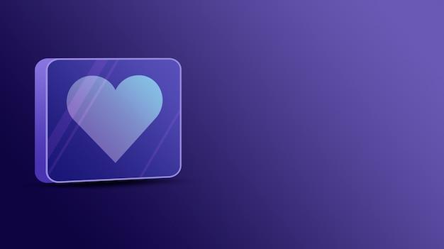 Coração como na plataforma de vidro 3d