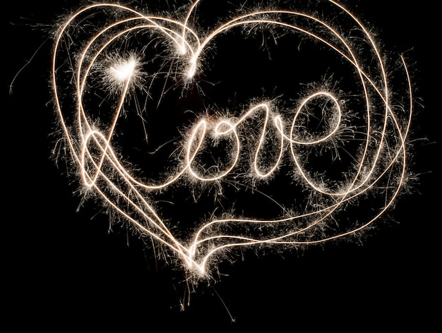 Coração de amor feito à mão brilho