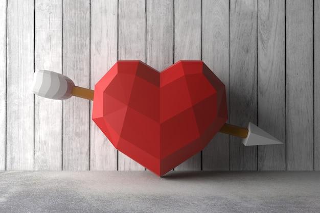 Coração de baixo poli na parede. renderização em 3d.