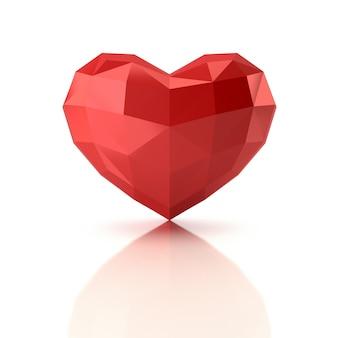 Coração de baixo poli. renderização em 3d.