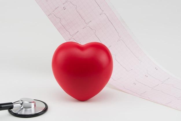 Coração de brinquedo e estetoscópio no fundo do eletrocardiograma cuidados de cardiologia do coração