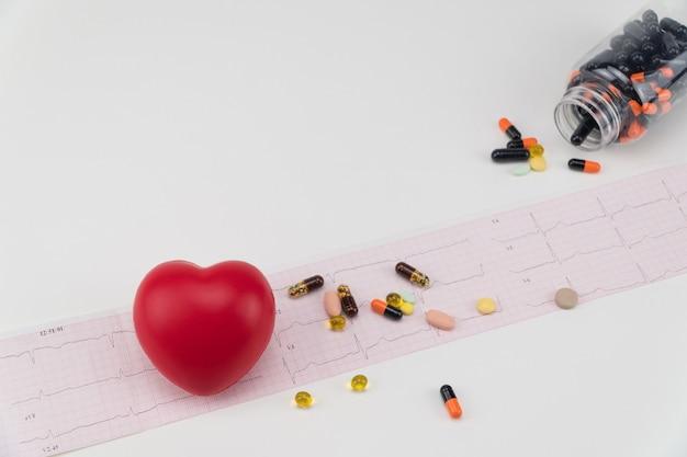 Coração de brinquedo no eletrocardiograma com comprimidos. conceito de saúde. cardiologia - cuidados com o coração