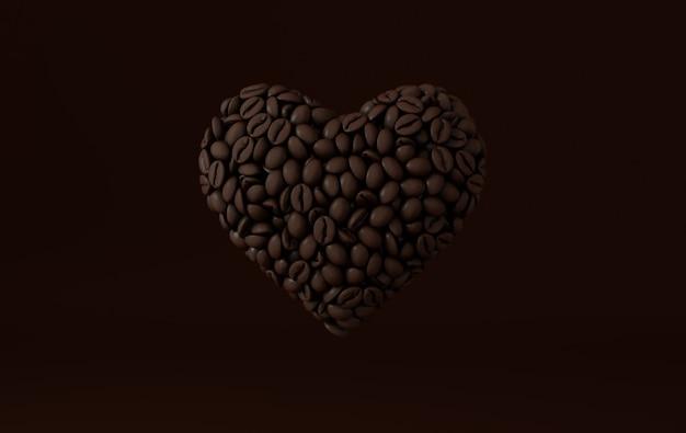 Coração de café feito de grãos de café realistas