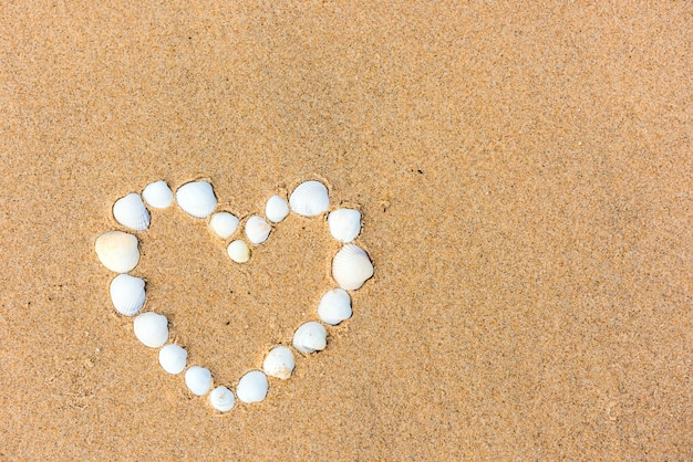 Coração de concha do mar na areia da praia